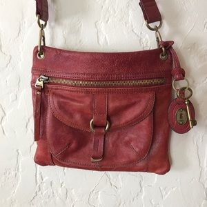 Red fossil leather cross body purse